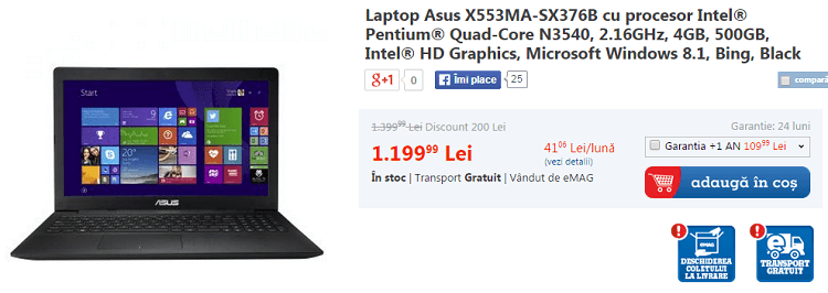 Laptop Asus X553MA-SX376B eMAG