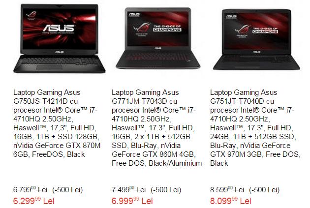 Laptopuri Asus ROG la eMAG