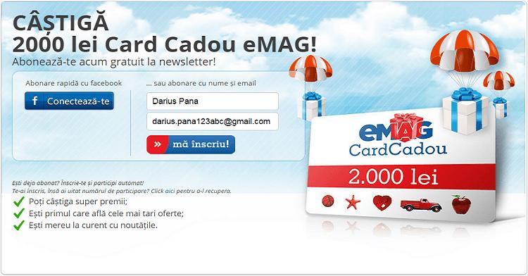 Abonarea la newsletter eMAG