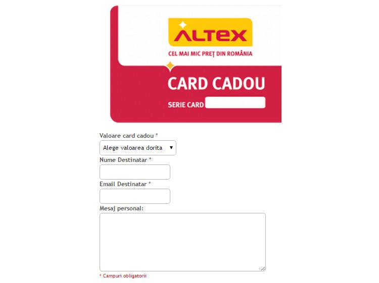 Formular card cadou Altex