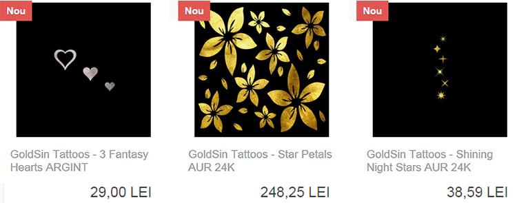Tatuaje temporare aur argint GoldSin Bio-Cosmetics