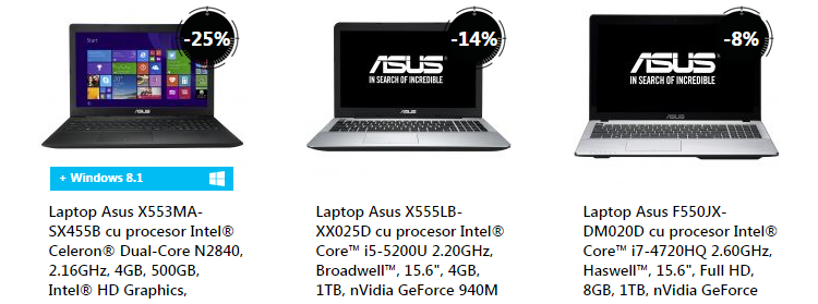 Laptopuri Asus Stock Busters eMAG august