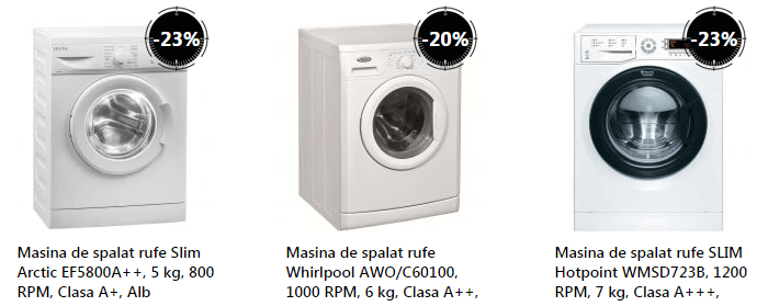 Masini spalat rufe eMAG Stock Busters august