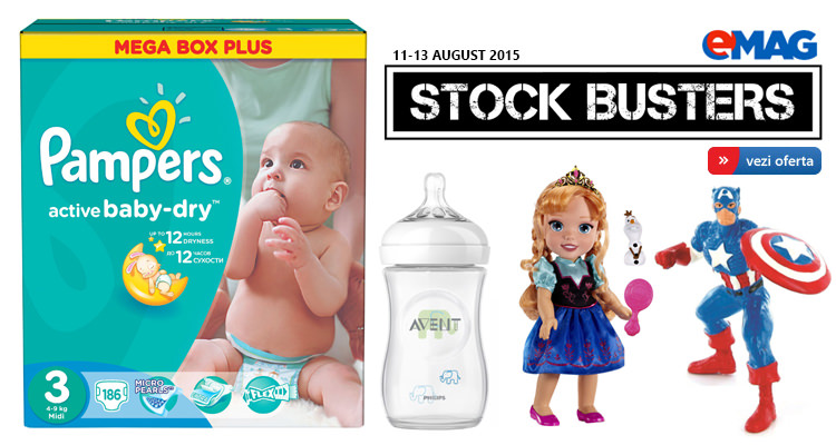 Oferte articole copii Stock Busters eMAG august