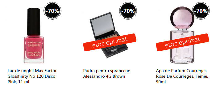 Reduceri cosmetice Stock Busters eMAG august
