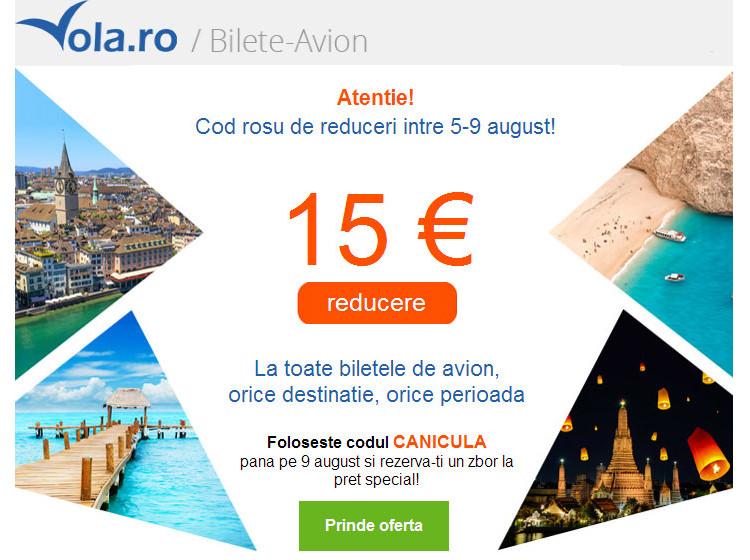 Vola cod reducere 15 euro bilete avion