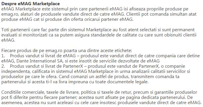 Despre eMAG Marketplace