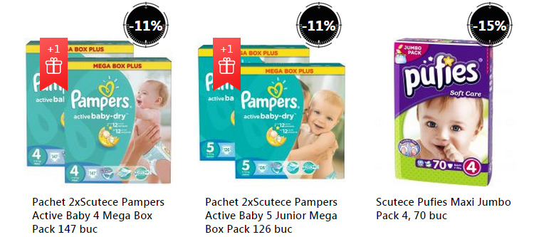 Oferta scutece Pampers Pufies Stock Busters septembrie 2015 eMAG