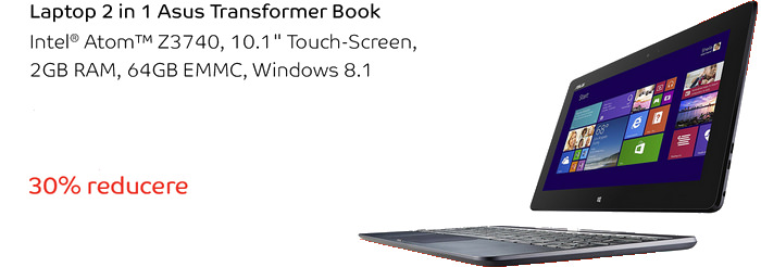 Promotie eMAG laptop 2-in-1 Asus Transformer Book