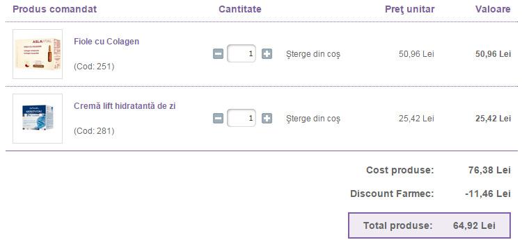 Cos cumparaturi discount Farmec