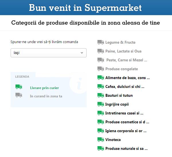 Zone livrare Supermarket eMAG