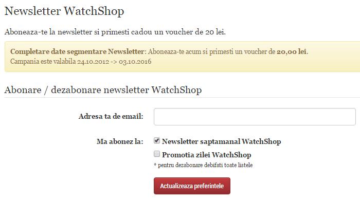 WatchShop newsletter