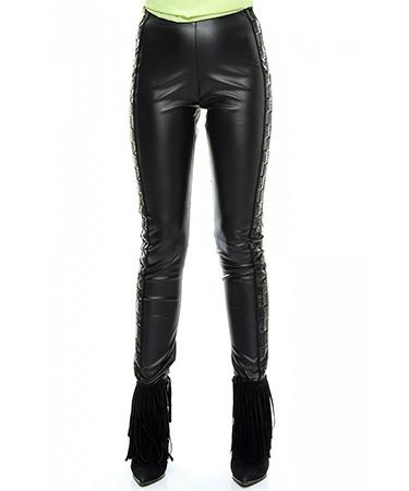 Pantaloni imitatie piele aplicatii FashionUP