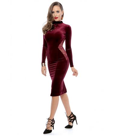 Rochie catifea dantela Roserry FashionUP