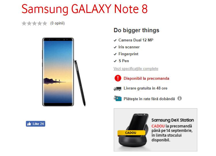 Precomanda Samsung Galaxy Note 8 Vodafone