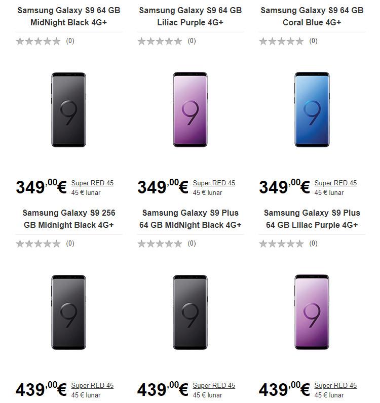 Samsung Galaxy S9 si S9 Plus Vodafone