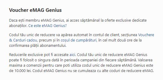 conditii voucher eMAG Genius