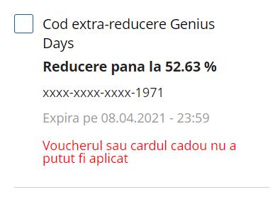 cod extra reducere Genius Days