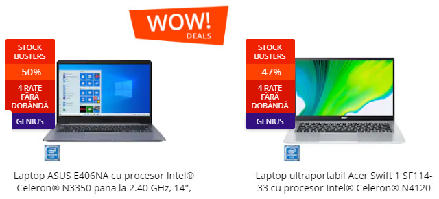 wow deals laptopuri stock busters emag